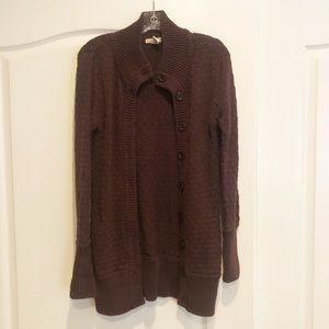 Chunky Knit Brown Cardigan Sweater